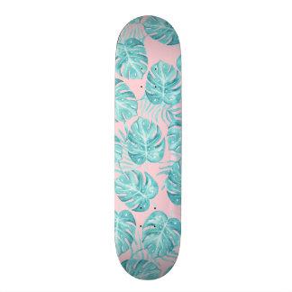 Cute pink teal watercolor tropical plant flowers skate board