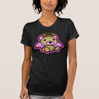 Cute pink teddy bear angel in dark shirt