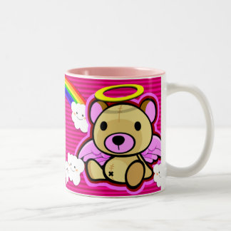 Cute pink teddy bear angel mug
