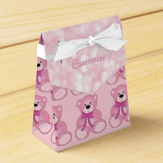 Cute Pink Teddy Bear Pattern Favor Box