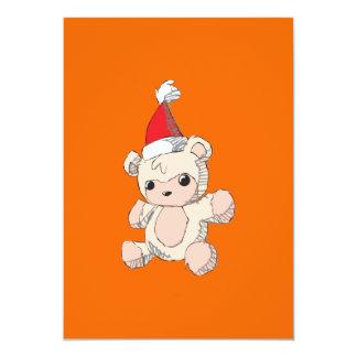 Cute Pink Teddy Bear Santa Hat Invitation Stamps