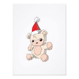 Cute Pink Teddy Bear Santa Hat Invitation Stamps