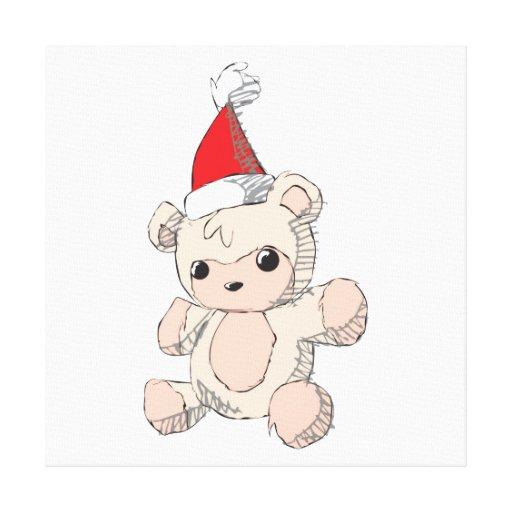 Cute Pink Teddy Bear Santa Hat Invitation Stamps Canvas Print