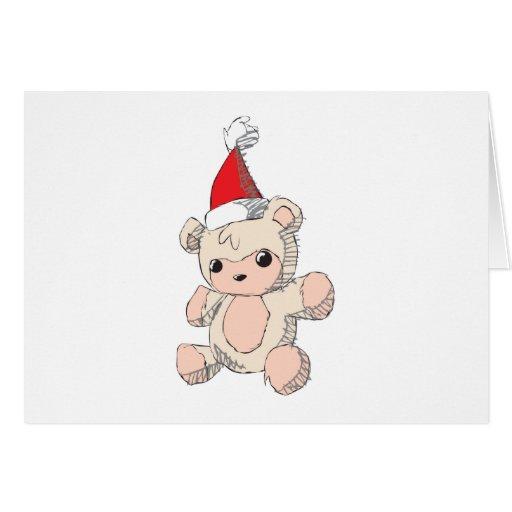 Cute Pink Teddy Bear Santa Hat Invitation Stamps Card