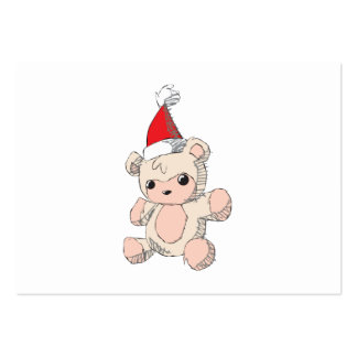 Cute Pink Teddy Bear Santa Hat Invitation Stamps Pack Of Chubby Business Cards
