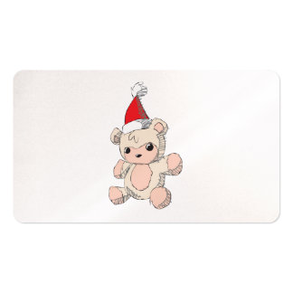 Cute Pink Teddy Bear Santa Hat Invitation Stamps Pack Of Standard Business Cards