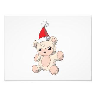Cute Pink Teddy Bear Santa Hat Invitation Stamps Photographic Print