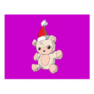 Cute Pink Teddy Bear Santa Hat Invitation Stamps Postcard