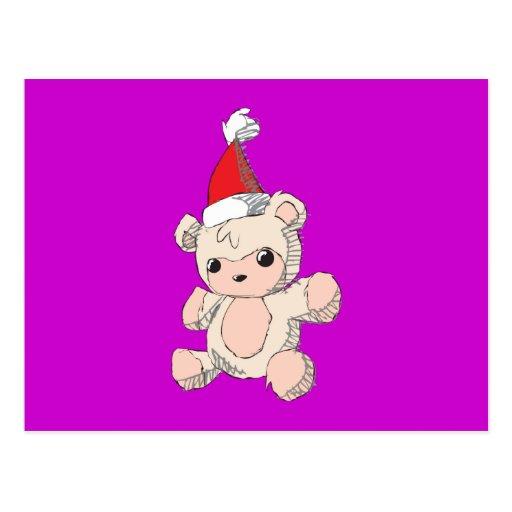 Cute Pink Teddy Bear Santa Hat Invitation Stamps Postcards