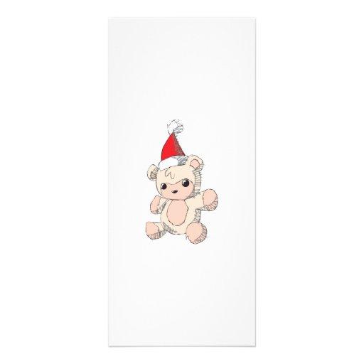 Cute Pink Teddy Bear Santa Hat Invitation Stamps Rack Cards
