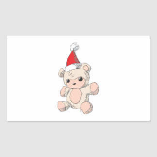 Cute Pink Teddy Bear Santa Hat Invitation Stamps Rectangular Sticker