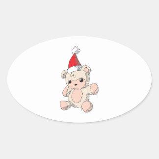 Cute Pink Teddy Bear Santa Hat Invitation Stamps Oval Sticker