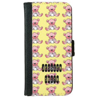 cute pink teddy bear toy iPhone 6 wallet case