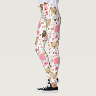 Cute Pink Tribal Woodland Animals Leggings