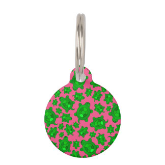 Cute pink turtle pattern pet ID tag