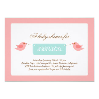 Cute Pink Twitters Baby Shower Invitation