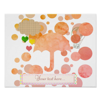 Cute Pink Umbrella Hearts Rain Poster