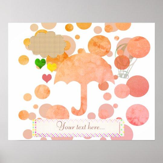 Cute Pink Umbrella Hearts Rain Poster