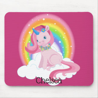Cute Pink Unicorn and Rainbow Personalized Mouse Pad