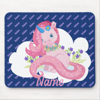 Cute Pink Unicorn Believe Personalized Mouse Pad