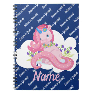Cute Pink Unicorn Believe Personalized Spiral Notebook