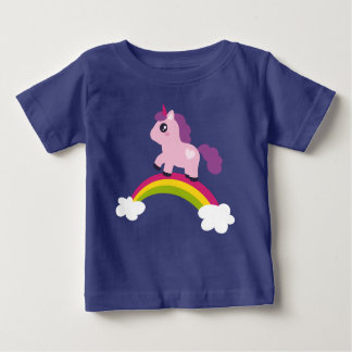 Cute Pink Unicorn on a Rainbow Baby T-Shirt