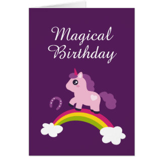 Cute Pink Unicorn on a Rainbow Card