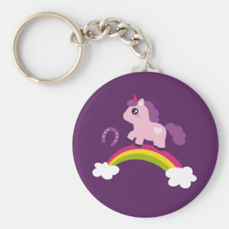 Cute Pink Unicorn on a Rainbow Key Ring