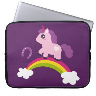 Cute Pink Unicorn on a Rainbow Laptop Sleeve