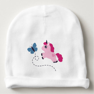 Cute Pink Unicorn with a Butterfly Baby Beanie