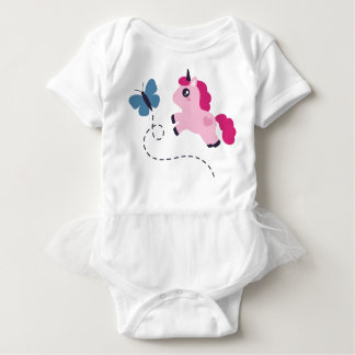 Cute Pink Unicorn with a Butterfly Baby Bodysuit