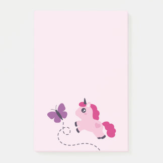 Cute Pink Unicorn with a Butterfly Post-it Notes