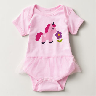 Cute Pink Unicorn with a Flower Baby Bodysuit