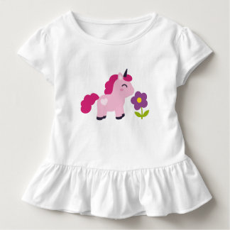 Cute Pink Unicorn with a Flower Toddler T-Shirt