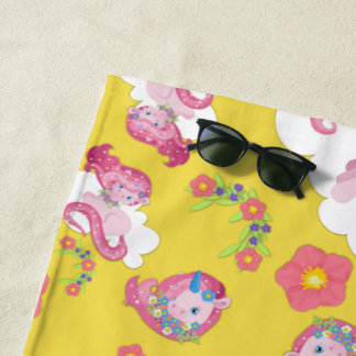Cute Pink Unicorns and Floral Pattern Beach Towel