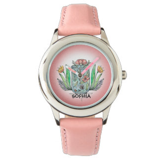 Cute Pink Vase of Flowers Child's Watch
