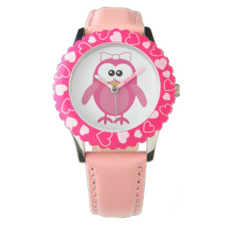 Cute Pink Vector Owl with Ribbon Watch