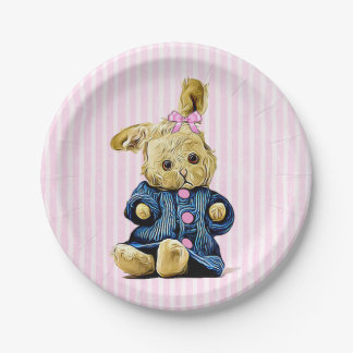 Cute pink Vintage Bunny Rabbit Party Paper Plates 7 Inch Paper Plate