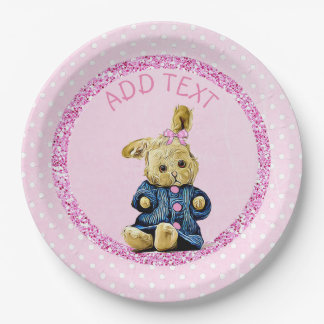Cute pink Vintage Bunny Rabbit Party Paper Plates 9 Inch Paper Plate