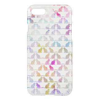 Cute pink watercolor cat silhouette pattern iPhone 7 case