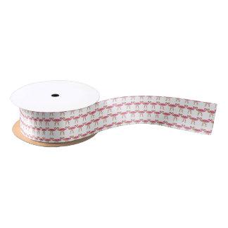 Cute Pink Watercolor Flamingos on White Satin Ribbon