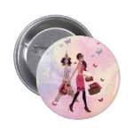 Cute Pink Watercolor Girl Paris Eiffel Tower Pinback Buttons
