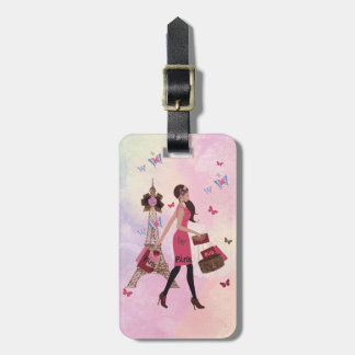 Cute Pink Watercolor Girl Paris Eiffel Tower Luggage Tag