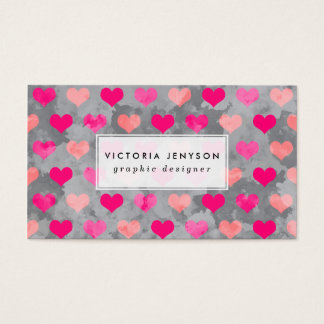 Cute pink watercolor hearts pattern abstract gray business card