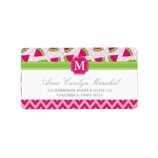 Cute Pink Watermelon Polka Dots Chevron Monogram Label