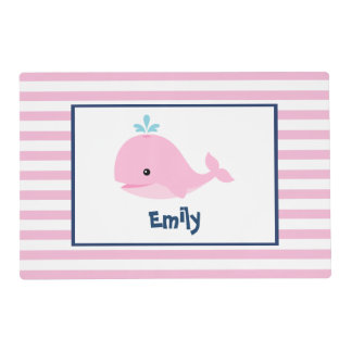 Cute Pink Whale Kids Laminated Place Mat