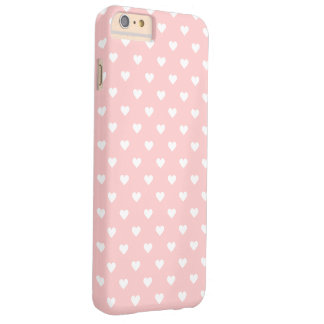 Cute Pink White Heart Pattern Girly Barely There iPhone 6 Plus Case