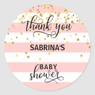 Cute Pink White Stripes Thank You Baby Shower Girl Classic Round Sticker