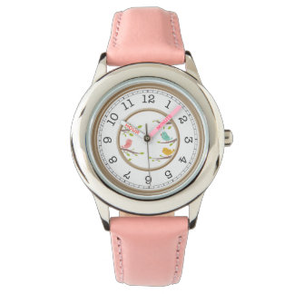 Cute pink with birds watch