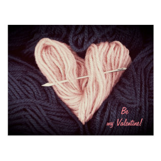 Cute pink wool heart with tapestry needle postcard